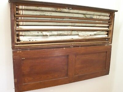 Antique Maps Set Of 7 Pull Down Roll Up School Room 1916 Wall Mount Oak Box RARE