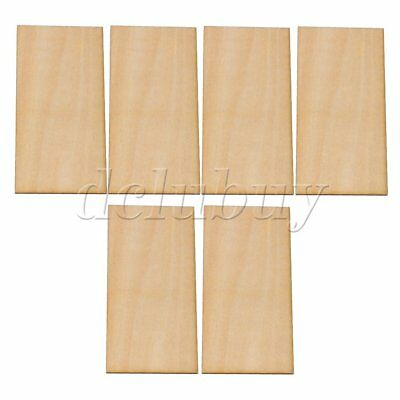 6pcs 100x50x1.5mm Unpainted Craft Basswood Wooden Sheets DIY Woodworking