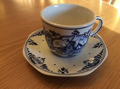 Vintage Delft Pottery Cup And Saucer Set