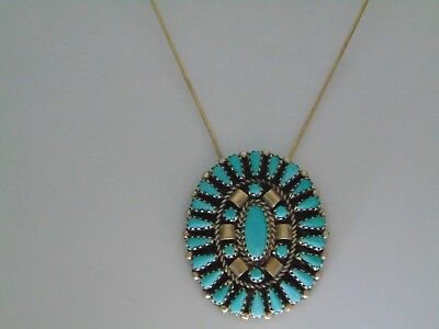Beautiful Native American Sterling Silver Turquoise Cluster Necklace