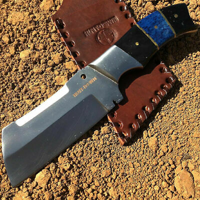 Wood Hunting Survival Skinning Fixed Blade Knife Full Tang Bowie Leather Sheath
