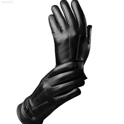 652E Protective Black Men Winter Leather Full Finger Touch Screen Warm Gloves
