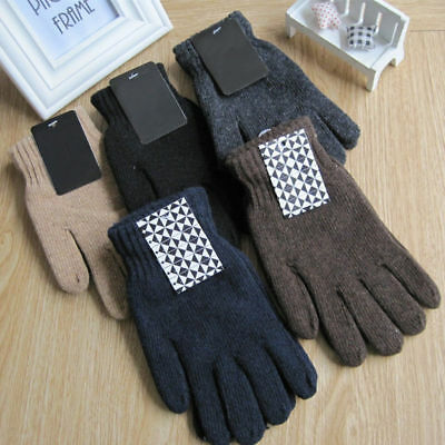 Autumn Winter Men's Knitted Gloves Male Thicken Thermal Wool Gloves Mittens