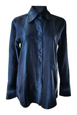 *gucci*  Women's Blue Striped 100% Silk Shirt (40)