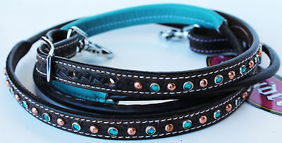 Horse 8ft Contest Rein Tack Saddle Barrel Leather Reins Turquoise Brown 6642