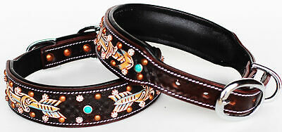 Rhinestone Dog Puppy Collar Crystal Western Cow Leather  6033
