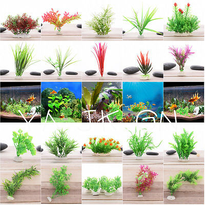Artificial Water Aquatic Green Grass Plant Flowers Aquarium Fish Tank Landscape