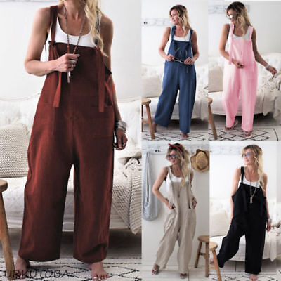 Dungarees Strap Overalls Harem Trousers Women Baggy Casual Cotton Linen Jumpsuit