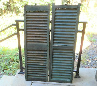 Rustic Victorian 1880s Green Shutter Unmatched Pair Primitive Weathered