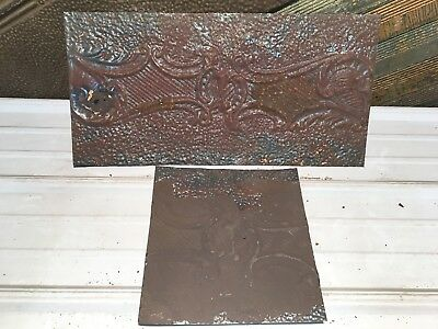 "2pc Lot of 24"" by 11.5"" Antique Ceiling Tin Vintage Reclaimed Salvage Art Craft"