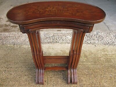 Mahogany inlaid nest of 4 tables in kidney shape (ref 611)