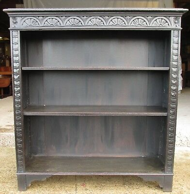 Victorian carved oak adjustable open bookcase (ref 613)