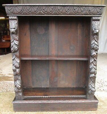 Victorian carved oak adjustable open bookcase (ref 614)