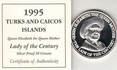 1995 Turks & Caicos Queen Mother Proof Silver 20 Crowns Coin With COA