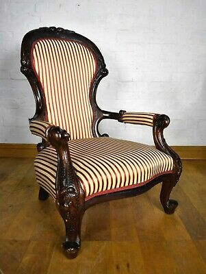 Antique style carved balloon shape armchair - spoon shape reading chair