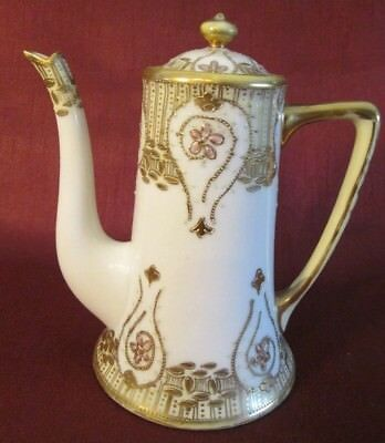 Antique NIPPON TEA POT Hand Painted GOLD MORIAGE Marked PINK GREEN RAISED ENAMEL