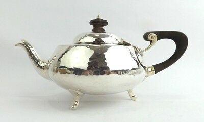Teapot Planished Sterling Silver Art Nouveau Arts & Crafts Pearce London 1914