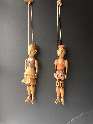 Vintage Hand carved Wooden Puppets Dolls  Jointed Ethnic Dolls