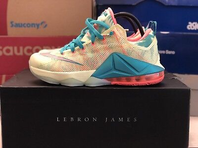 low priced 62a54 aba24 Nike LeBron XII 12 Low Prm LeBronold Palmer Lime Mango 776652 383 QS