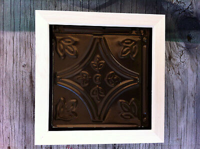 "Tin Ceiling Art Distressed Vintage Burnt Bronze Wood Frame 6""X6"" USA Made #705"