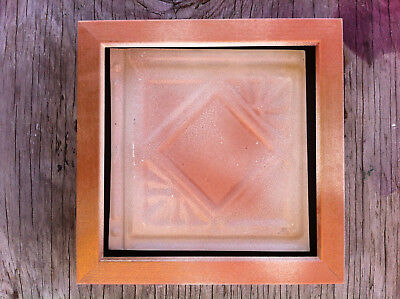 "Tin Ceiling Art Distressed Vintage Copper White Wood Frame 6""X6"" USA Made #703"
