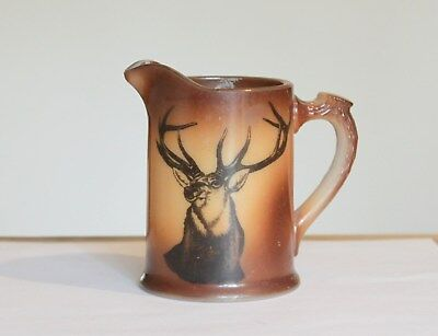 Vintage Hand Painted White Milk Glass Pitcher Faux Antler Handle Brown Stag Deer