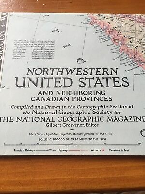 VINTAGE NORTHWESTERN UNITED STATES & CANADA MAP National Geographic June 1950