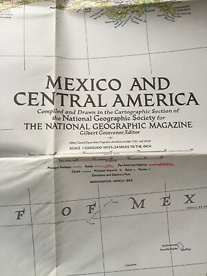 VINTAGE MEXICO AND CENTRAL AMERICA WALL MAP National Geographic