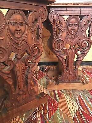 Antique Belgian Marble Carved Face Side Tables Gothic Victorian Figural Medieval