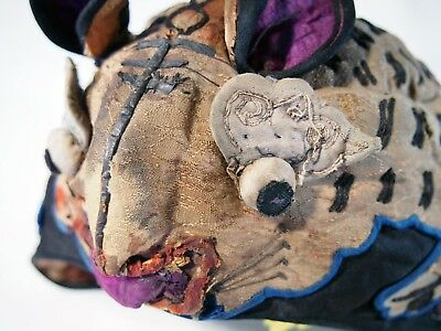 Vintage Chinese Silk childs skull cap mouse year of the rat embroidered patina