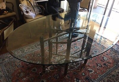 Vintage Mcguire Furniture Rattan Leather Glass Dining Table Oval Tropical Tiki