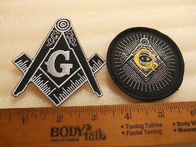 Square & Compass + All  Seeing Eye Masonic Iron on Patches FREE SHIPPING (2)