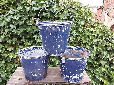 3 vintage  galvanised bucket planters painted blue