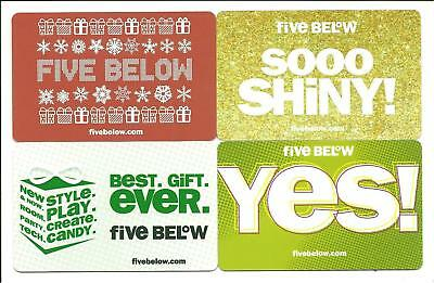 Lot of (4) Five Below Incl. Holiday Gift Cards No $ Value Collectible Shiny