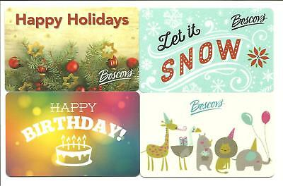 Lot of (4) Boscov's Incl. Holiday Gift Cards No $ Value Collectible Christmas