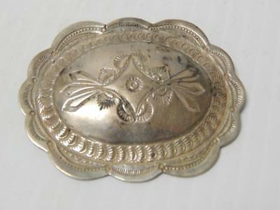 Finely Stamped Vintage Navajo Indian  Sterling Silver Concho Pin - Old + Nice !