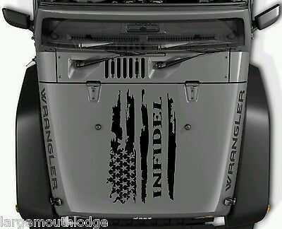 INFIDEL Distressed American Flag Decal fits Jeep Dodge Ford Chevy side by RZR