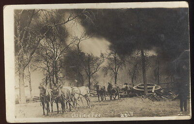 1914 Rppc, Oil Field Fire, Bartlesville, Ok. Teams Of Horses & Mules