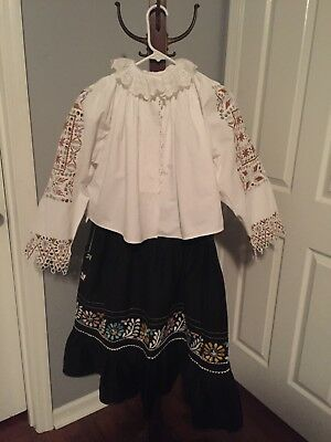 Vintage Slovak Partial Folk Costume Embroidered Cutout Work Blouse With Apron