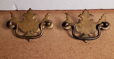"""PAIR ANTIQUE VINTAGE CHIPPENDALE STYLE METAL DRAWER PULLS 2 1/2"""" CTR to CTR 1B"""