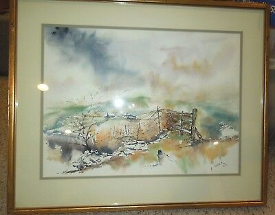 1983 Colorful Rural Farm Landscape Watercolor by George S Wills Matted & Framed
