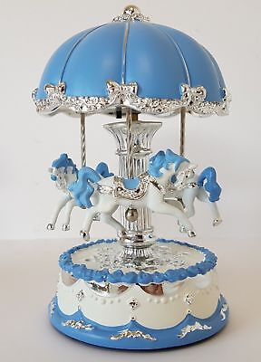 Musical Carousel LED Light Up Blue/Silver Russell Collection