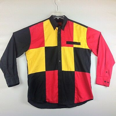 Rustler By Wrangler Shirt Men Large Western Button Red Yellow Black