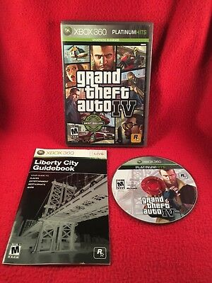 Grand Theft Auto IV 4 GTA Xbox 360 Platinum Hits NO MAP USA Cleaned & Working