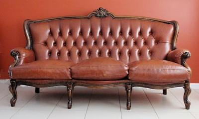Antique  Vintage French Louis XV Office Bed Room Dining Room Leather Sofa Lounge