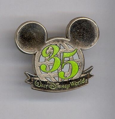35th Anniversary Walt Disney World Silver Mickey Mouse Globe Ears Icon Pin