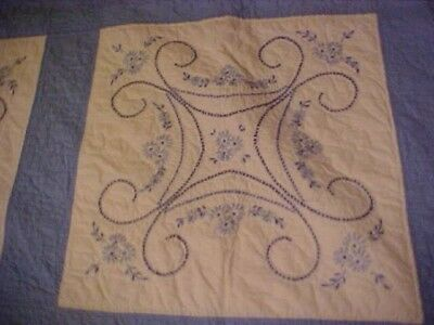 Vintage 1960s EMBROIDERED and CROSS STITCH QUILT, BLUE FLOWERS