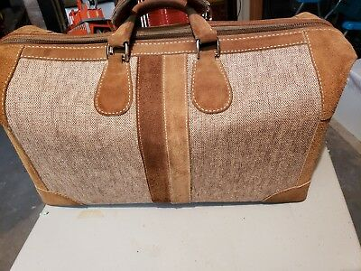 """French Co Luggage Rare 22"""" Tweed Leather Carry On Duffle Doctor Style Bag"""