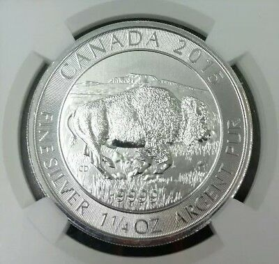 Canada 8 Dollars 2015 NGC MS 70  1.25 oz. 9999 PURE SILVER  Early Releases Bison