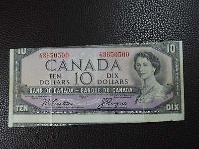 1954 $10 Dollar Banknote Canada Cut Out of Register with Colour Bar Error Note